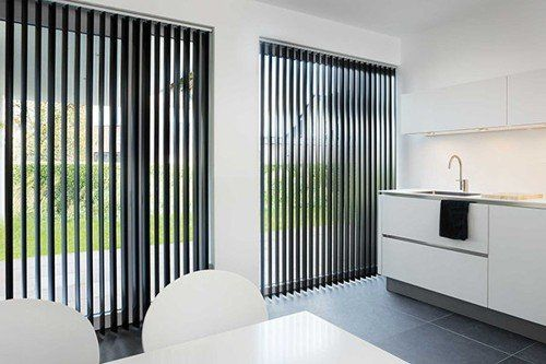 vertical blinds slate black