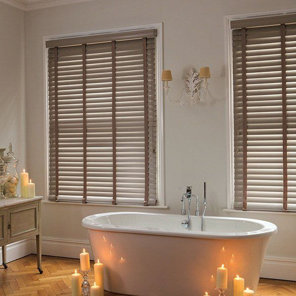 wooden blinds bath